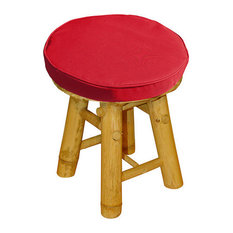 Bamboo Low Stool With a Natural Finish, Red