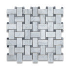 "12""x12"" Carrara White Basketweave Mosaic, Dark Gray Dots Honed"