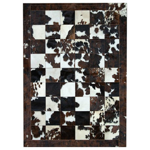 Patchwork Leather Cubed Cowhide Rug, Normandy Cow Natural, 140x200 cm