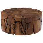 Phillips Collection - Teak Chunk Coffee Table, Round - With exquisite craftsmanship, we have rescued the scrap pieces of teak wood that are hand assembled to create the Teak Chunk Round Coffee Table from being one of nature's finest castaways. Though the shape is simple, the complexity of the parts that make up the whole illustrates the talent of our craftspeople. When a hint of texture is desired, this wood coffee table will bring it; it is also fitting for a number of design styles, including contemporary, modern farmhouse, and industrial chic. There are a number of furnishings and accessories in the Teak Chunk collection.