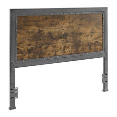 Queen Size Wood Slat and Metal Panel Headboard