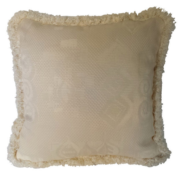 Ivory Jacquard Decorative Throw Pillows With Fringe