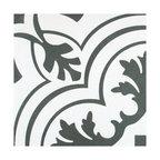 """SomerTile Twenties Encaustic 7.75"""" x 7.75"""" Ceramic Floor and Wall Tile, Vintage"""