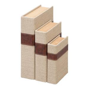 """Wooden Burlap Book Storage Boxes, 3-Piece Set, 11"""", 9"""", 7"""""""
