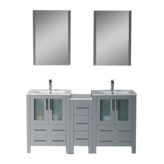 "Sydney 60"" Double Vanity Set With Mirrors, Metal Gray"