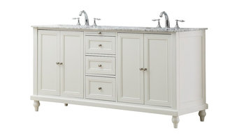 """Classic 70"""" Pearl White Double Vanity, Top: Carrara Marble, With Mirror"""