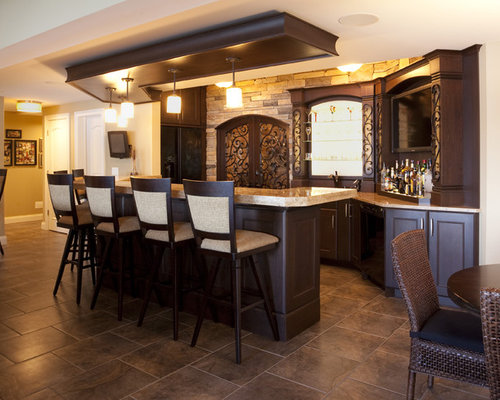 32 L-Shaped Home Bar with Travertine Floors Design Ideas & Remodel Pictures | Houzz