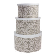 Household Essentials Hat Box Set With Faux Leather Lids, Scroll   Storage  Bins And