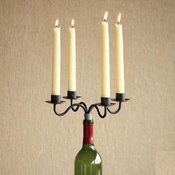 WINE BOTTLE CANDELABRA, SET OF 2