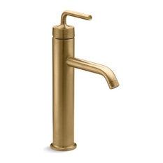 Kohler Purist Tall 1-Handle Bathroom Faucet, Vibrant Moderne Brushed Gold