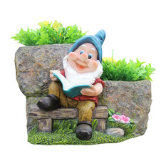 Cute Gnome Reading Book With 2 Flower Pots