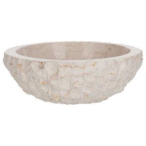 Round Marble Vessel Sink, White, 41 cm
