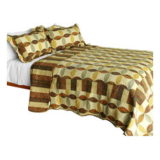 Memories Off 3PC Vermicelli-Quilted Striped Patchwork Quilt Set (Full/Queen)