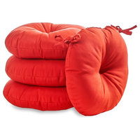 "Round 18"" Outdoor Bistro Chair Cushion, Set of 4, Salsa Red"