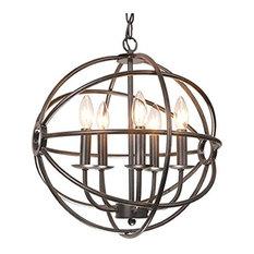 5-light Antique Black Metal Tube Globe Chandelier