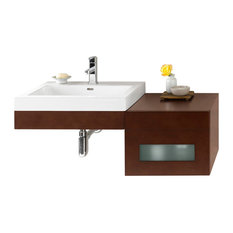 "Ronbow 41"" Adina Solid Wood Wall Mount Vanity Set With Ceramic Sink Top"