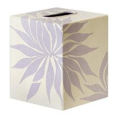 Worlds Away Kleenex Box Lavendar and Cream Floral