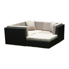 Outdoor Wicker Sofa Sectional 4-Piece Resin Couch Set