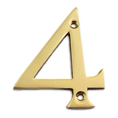 Brass Numeral, 4, Polished Brass, 3""