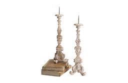 Ornately Carved Candlesticks - Pair