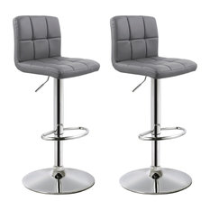 MOD - Morrison Faux Leather Adjustable Bar Stools, Set of 2, Gray - Bar Stools and Counter Stools