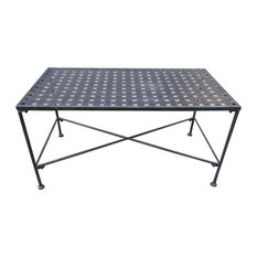 GDFStudio   Kent Outdoor Black Iron Coffee Table   Outdoor Coffee Tables