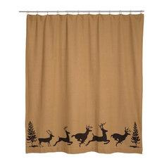 VHC Brands   Barrington Shower Curtain Burlap With Stencil   Shower Curtains