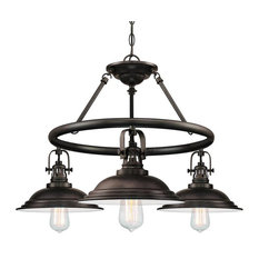 Bowery 3-Light Industrial Chandelier Metal Shades, Burnished Bronze
