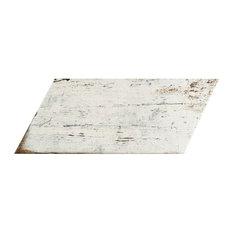 "7.13""x16.38"" Lambris Naveta Porcelain Floor/Wall Tiles, Set of 13, Blanc"