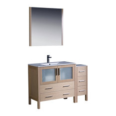 "48"" Light Oak Vanity, Side Cabinet and Integrated Savio Brushed Nickel Faucet"