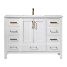Shannon Vanity Artificial White Stone Top White 48 Inch Single Without Mirr