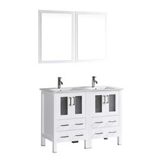 "48"" Bosconi Double Vanity, White"