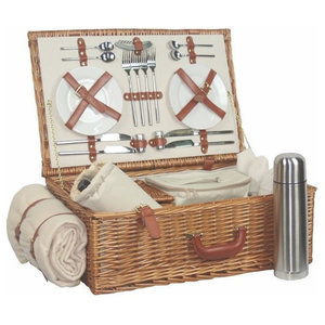 Deluxe Fully Fitted Traditional Picnic Basket, 4 Person