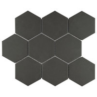"10""x11.38"" Manhattan Super Hex Unglazed Porcelain Mosaic Tile, Black"