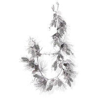 Serene Spaces Living 5ft Decorative Silver Glitter Holly, Berry & Pine Garland