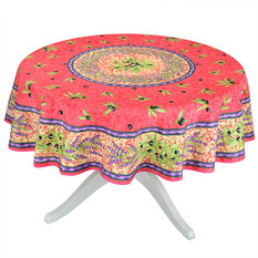 "Matisse Red French Provencal Stain Resistant Tablecloth - 70"" Round"