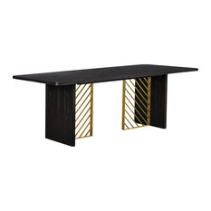 Monaco Black Wood Dining Table with Antique Brass Accent