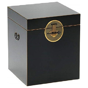 Traditional Storage Chest in Black Finish with Gold Leaf Details