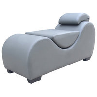 Athenes Faux Leather Yoga and Stretch Relax Chaise, Grey