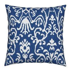 Lucette Ikat In Navy Blue Ikat Throw Pillow, Linen Cotton