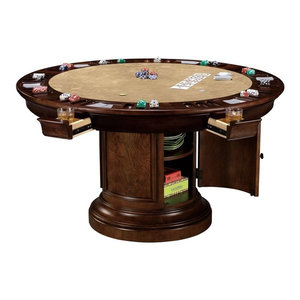 Ithaca Round Pub Game Table Six Extension Drawers
