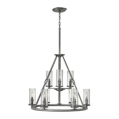 Hinkley Dakota Chandelier Large Two Tier, Polished Antique Nickel