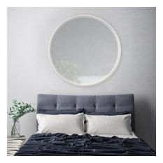 "Asti Metal Frame Bevelled Round Mirror 36"", Ivory"