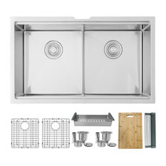 32 in Workstation Double Bowl Undermount Kitchen Sink with Built in Accessories