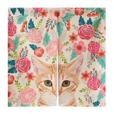 Linen Door Curtains Semi-shade Curtains Bedroom Bathroom Curtain Cat And Flowers