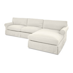 Avenue 405 Olivia Down Blend Sofa Chaise Sectional, Cream