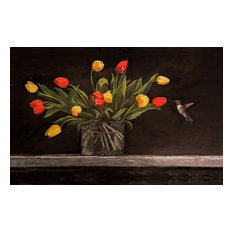 HUMMING BIRD AND TULIPS Art Fine Art Gallery Wrapped on Giclee Canvas, 30 x 60