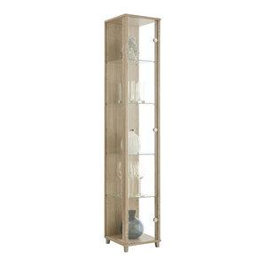 Vitrine Display Cabinet, 1 Door, 4 Shelves, Oak
