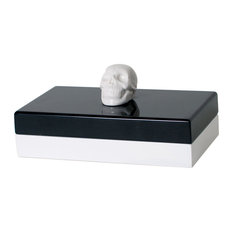 The Oracles White Ceramic Skull Lacquer Wood Jewelry Box