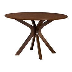 Baxton Studio Kenji Walnut Finished 48-Inch-Wide Round Wood Dining Table